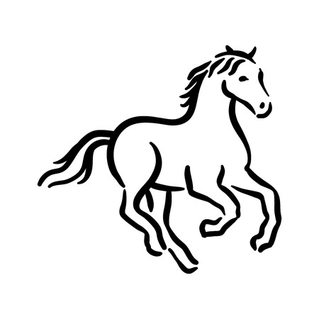 Horse symbol illustration black on white background Banque d'images - 124775128