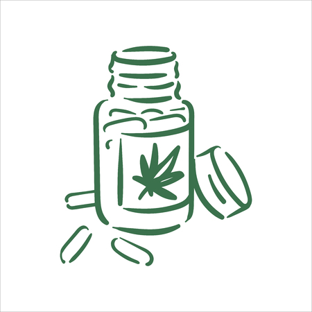 Vector hand drawn cannabis pills illustration on white background