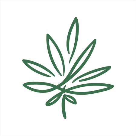 Vector hand drawn cannabis leaf illustration on white background Illustration