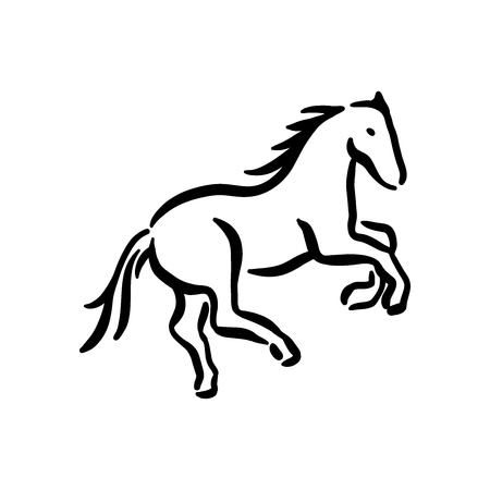 Horse symbol illustration black on white background