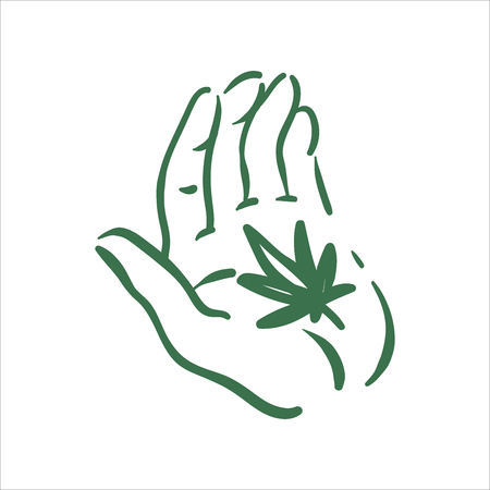 Vector hand drawn cannabis in hand illustration on white background Illustration