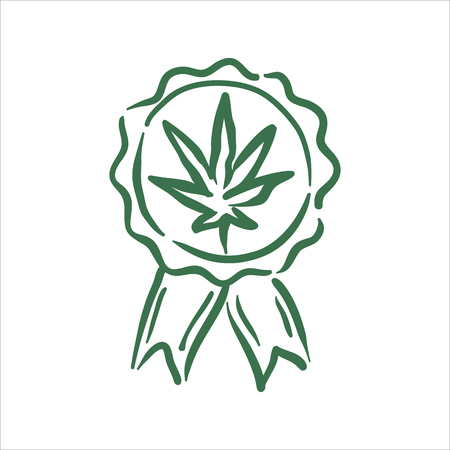 Vector hand drawn cannabis quality stamp illustration on white background