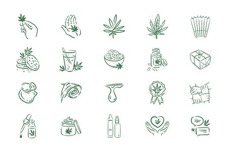 Vector hand drawn illustration of medical cannabis icons on white background