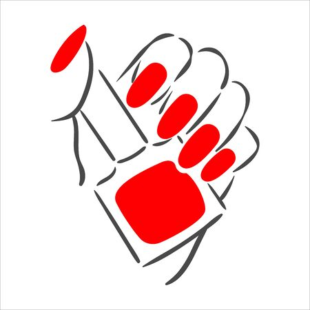 Vector hand drawn illustration of manicure and nail polish on woman hands  イラスト・ベクター素材