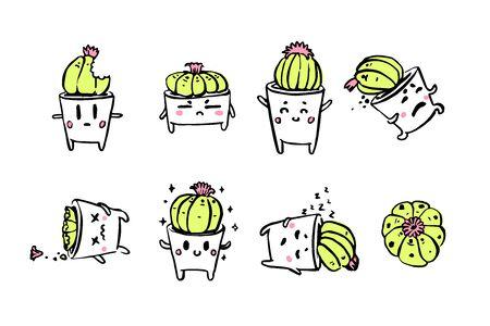 Cute little cacti character emotions set Çizim