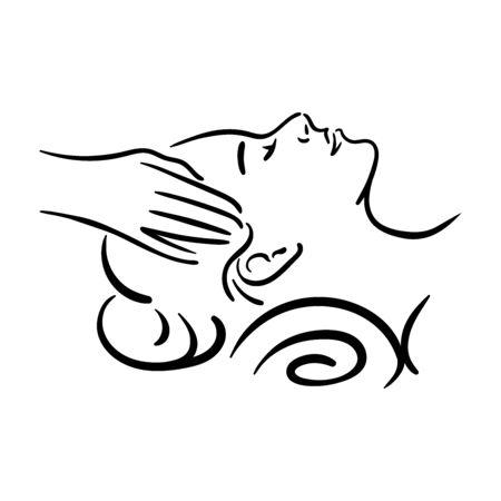 Wektor ręcznie rysowane ilustracja masażu twarzy spa dla kobiety na białym tle