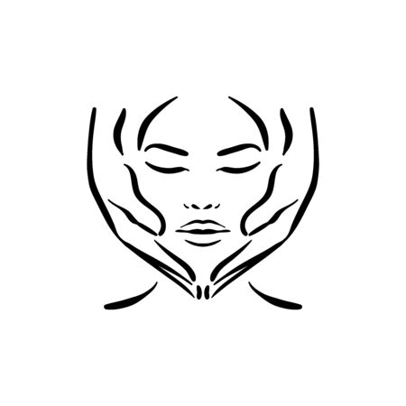 Vector hand drawn illustration of spa face massage for woman on white background Illustration