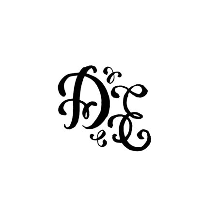 Hand drawn letters D and E for wedding logo monogram design on white background Illustration