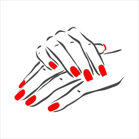 Hand drawn illustration of manicure and nail polish on woman hands