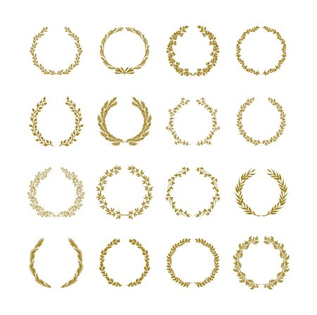 Gold laurel foliage wreath vector illustration set on white background