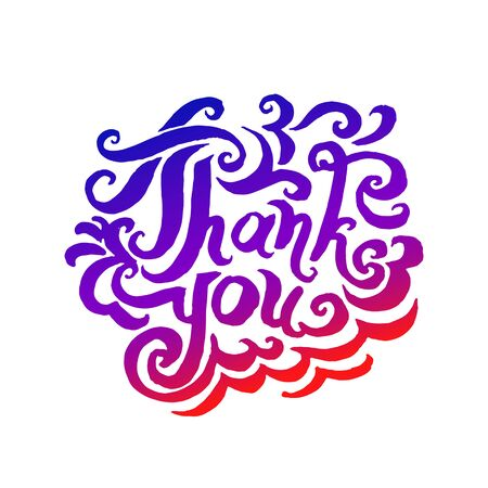 Vector illustration concept of Thank you phrase word illustration on colorful rainbow background