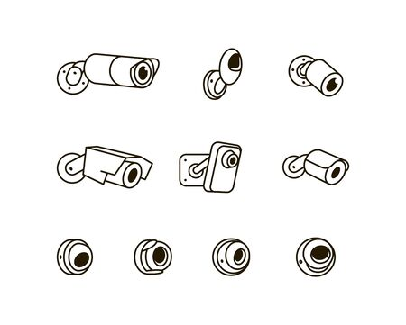 Surveillance CCTV security camera vector icon illustration isolated on white background Çizim