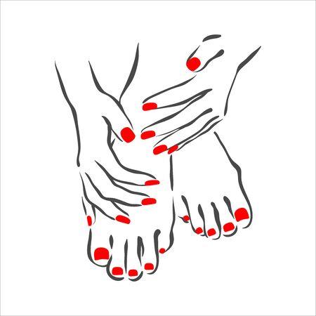 Ilustración dibujada a mano de manicura y esmalte de uñas en manos de mujer Ilustración de vector