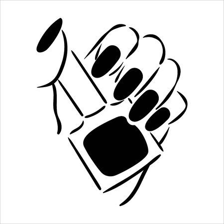 Vector hand drawn illustration of manicure and nail polish on woman hands Çizim