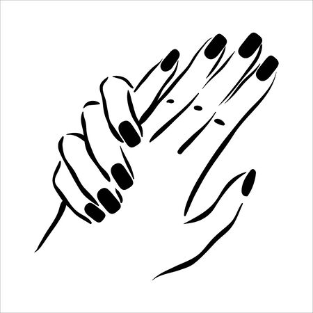 Vector hand drawn illustration of manicure and nail polish on woman hands Illustration