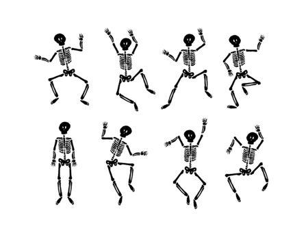 Concetto di illustrazione disegnata a mano di vettore di Dancing happy halloween skeleton
