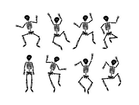 Vector hand drawn illustration concept of Dancing happy halloween skeleton Archivio Fotografico - 128803406