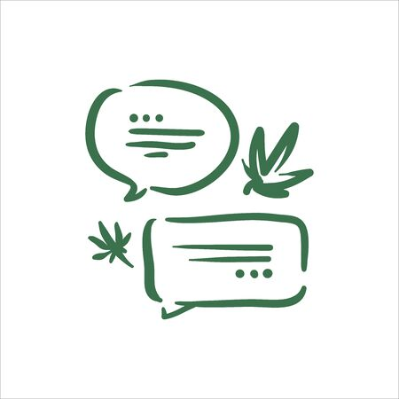 Vector illustration of cannabis conversation bubble talk on white background Çizim