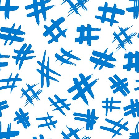 Hashtag signs. Number sign, hash, or pound sign. Seamless pattern of hand painted symbols isolated on a white background.