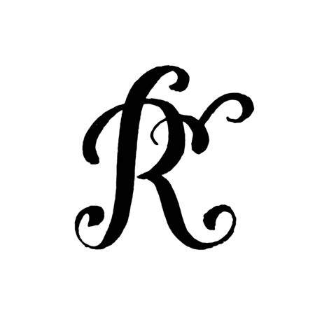 Beautiful hand written capital letter R with curls on white background