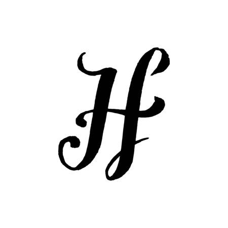Beautiful hand written capital letter H with curls on white background Çizim