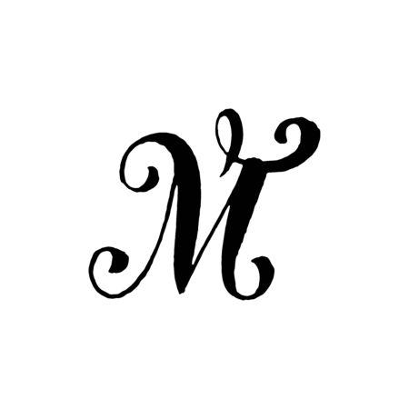 아름 다운 손으로 작성 된 대문자 M 흰색 배경에 곱슬 머리 벡터 (일러스트)
