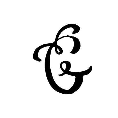 Beautiful hand written capital letter G with curls on white background Çizim