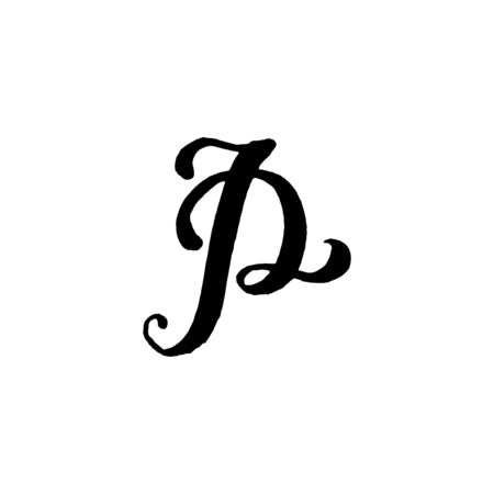 Beautiful hand written capital letter P with curls on white background Çizim