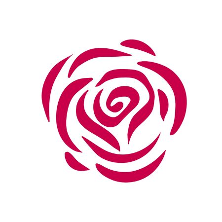 Vector red rose symbol illustration on white background Çizim