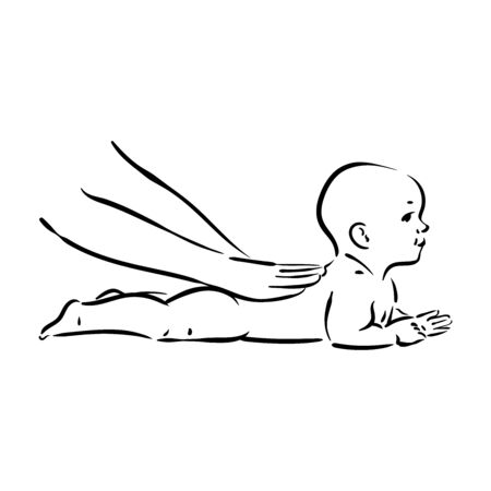 Vector hand drawn illustration of baby massage process on white background