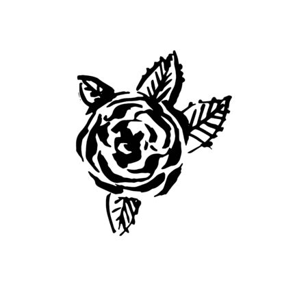 Vector hand drawn black color old school tattoo rose on white background