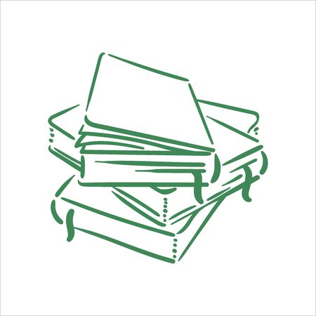 Vector Hand drawn sketch of books illustration on white background Ilustrace