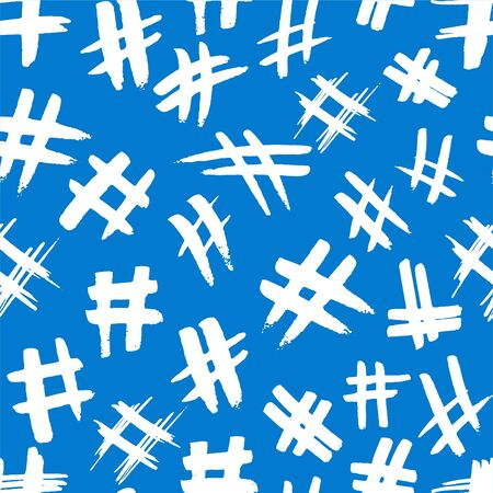 Hashtag signs. Number sign, hash, or pound sign. Seamless pattern of hand painted symbols isolated on a white background. Vector illustration Ilustrace