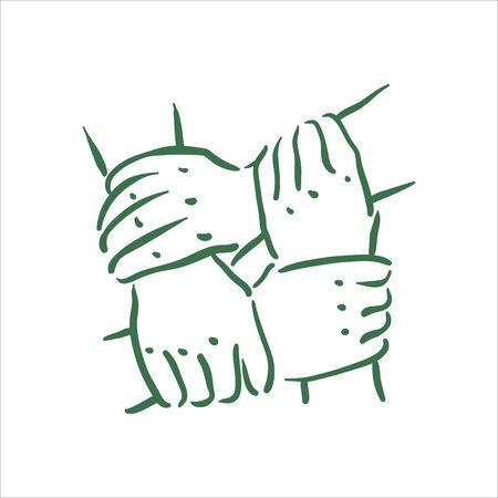 Vector hand drawn team hands illustration on white background