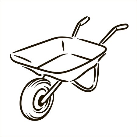 Vector hand drawn Farm wheelbarrow simple sketch illustration on white background Illusztráció