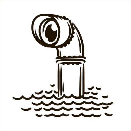 Vector hand drawn Periscope simple sketch illustration on white background.