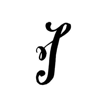 Beautiful hand written capital letter I with curls on white background Çizim
