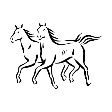 Horse symbol illustration black on white background Stock fotó - 133781333