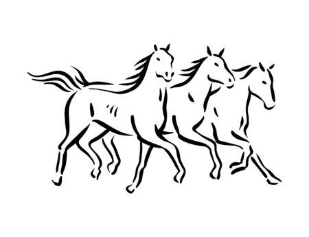 Horse symbol illustration black on white background