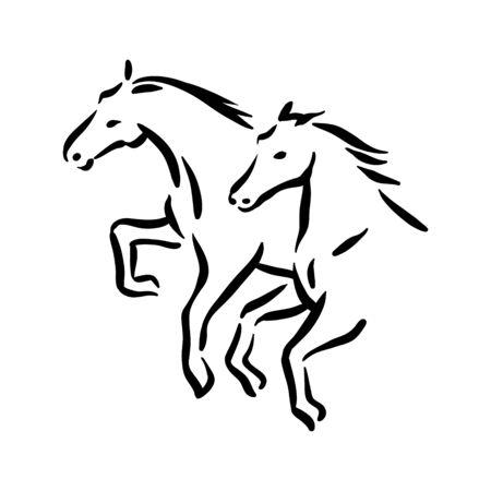 Horse symbol illustration black on white background Stock fotó - 133781337
