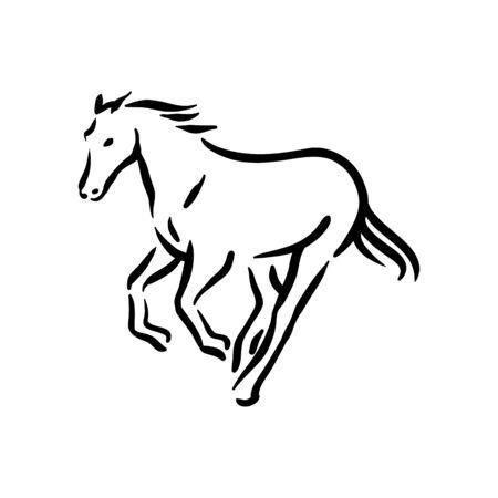 Horse symbol illustration black on white background Stock fotó - 133781338