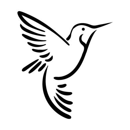 Bird line silhouette hand drawn illustration for logo