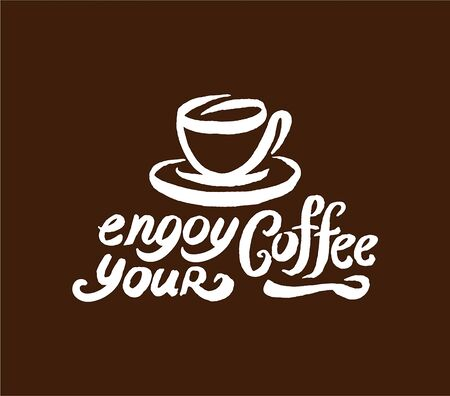Vector hand drawn Coffee quote lettering illustration composition with cup symbol Illusztráció