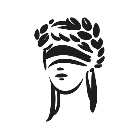 Sitting symbol of justice Themis face vector line art illustration on white background