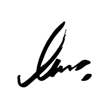 Unreadable handwriting font signature text on white background Standard-Bild - 135764279