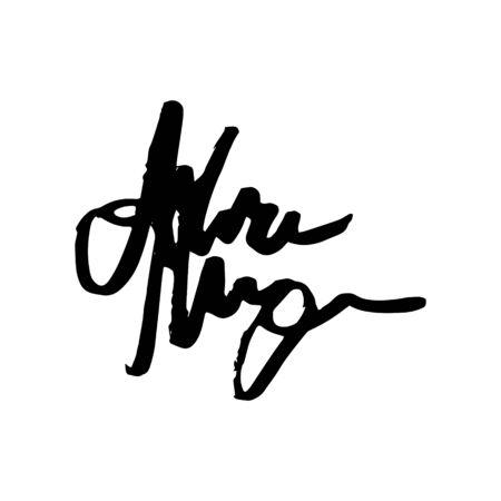 Unreadable handwriting font signature text on white background Standard-Bild - 135764282