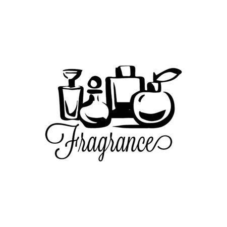 Perfume fragrance bottle sketch on white background