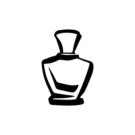 Perfume fragrance bottle sketch on white background