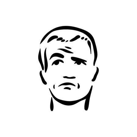 Icono de emoción cara escéptico sobre fondo blanco.