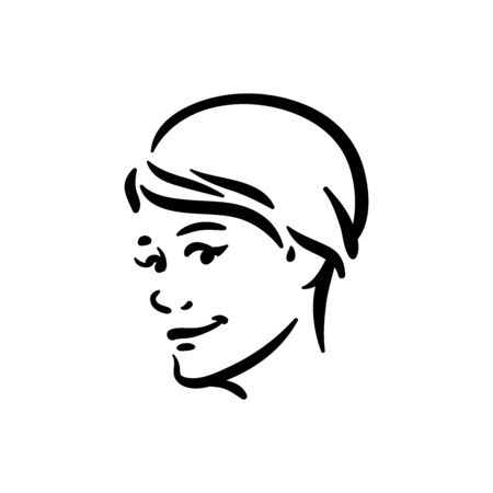 Vector curious face emotion on white background